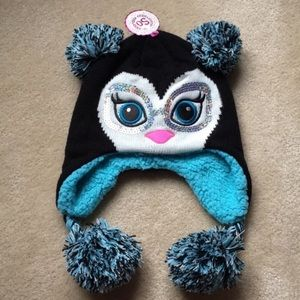 NWT SO Girls Knit Penguin Winter Cap Ear Flaps Sml
